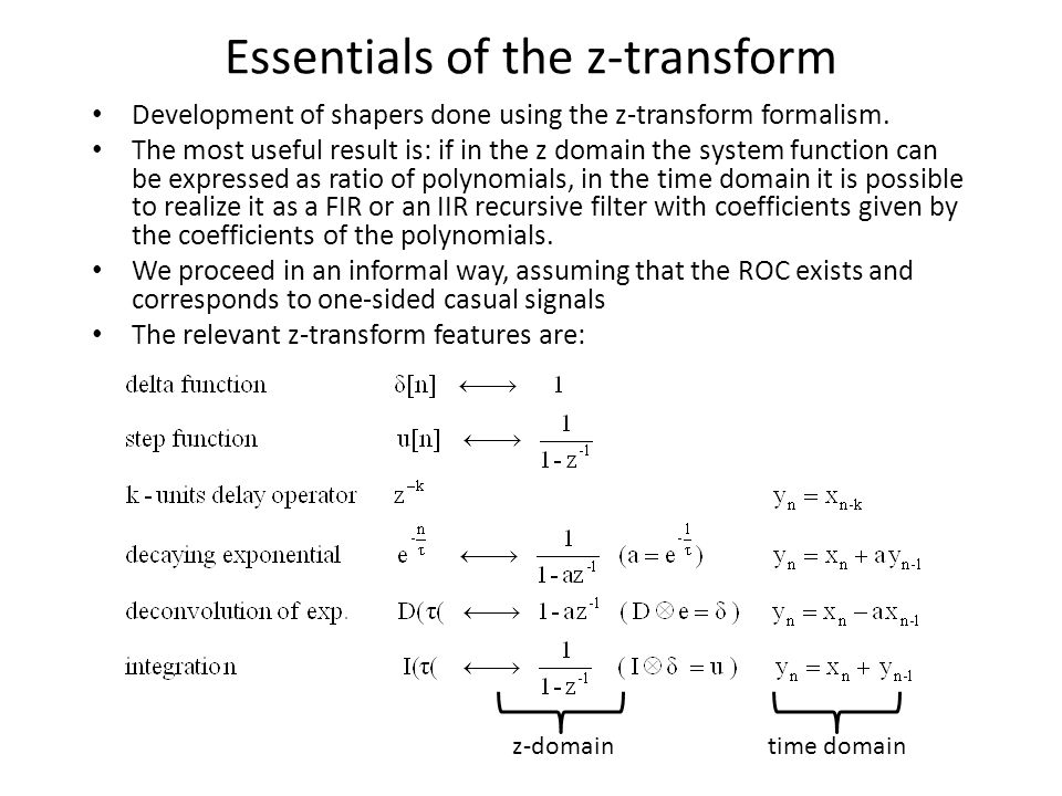 Essentials of the z-transform Development of shapers done using the z-transform formalism.