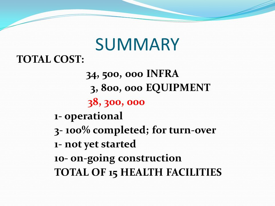 SUMMARY TOTAL COST: 34, 500, 000 INFRA 3, 800, 000 EQUIPMENT 38, 300, 000 1- operational 3- 100% completed; for turn-over 1- not yet started 10- on-go