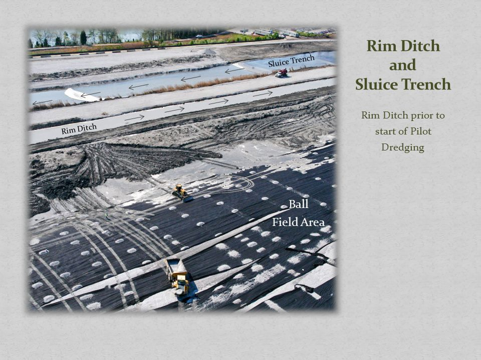 Rim Ditch prior to start of Pilot Dredging Ball Field Area Sluice Trench Rim Ditch
