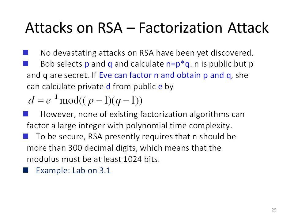 Attacks on RSA – Factorization Attack 25