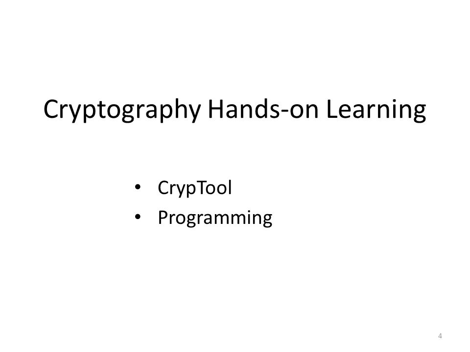 Cryptography Hands-on Learning 4 CrypTool Programming