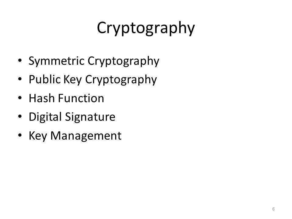 Cryptography 6 Symmetric Cryptography Public Key Cryptography Hash Function Digital Signature Key Management