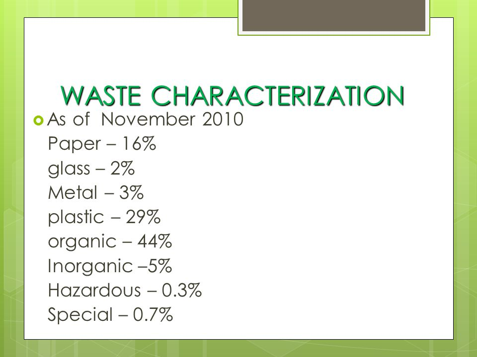 WASTE DIVERSION  Recyclables recovery thru MRF and Eco Savers Program (school-based)  Segregation and delivery of all tires and rubber wastes to a cement factory  Segregation and delivery of waste coco husks and tree cuttings to Marikina Composting Facility and to a paper mill/to charcoal maker  Reuse of demolition and construction debris as backfilling materials  Operation of Buyback center/Balik-Baterya  Operation of Barangay MRF's  Separate collection and sale of used cooking oil for diesel making