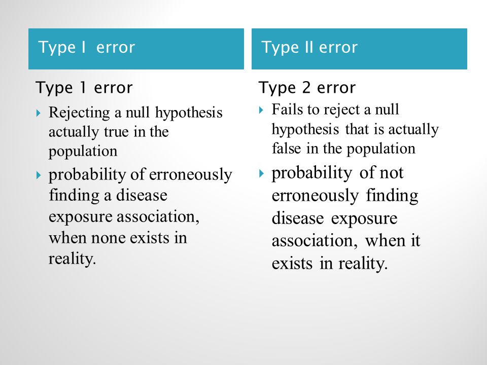 Type I errorType II error Type 1 error  Rejecting a null hypothesis actually true in the population  probability of erroneously finding a disease exposure association, when none exists in reality.