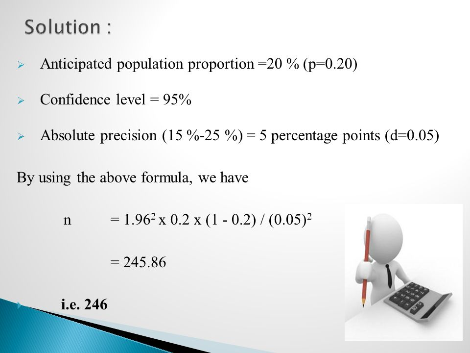  Anticipated population proportion =20 % (p=0.20)  Confidence level = 95%  Absolute precision (15 %-25 %) = 5 percentage points (d=0.05) By using the above formula, we have n= 1.96 2 x 0.2 x (1 - 0.2) / (0.05) 2 = 245.86  i.e.