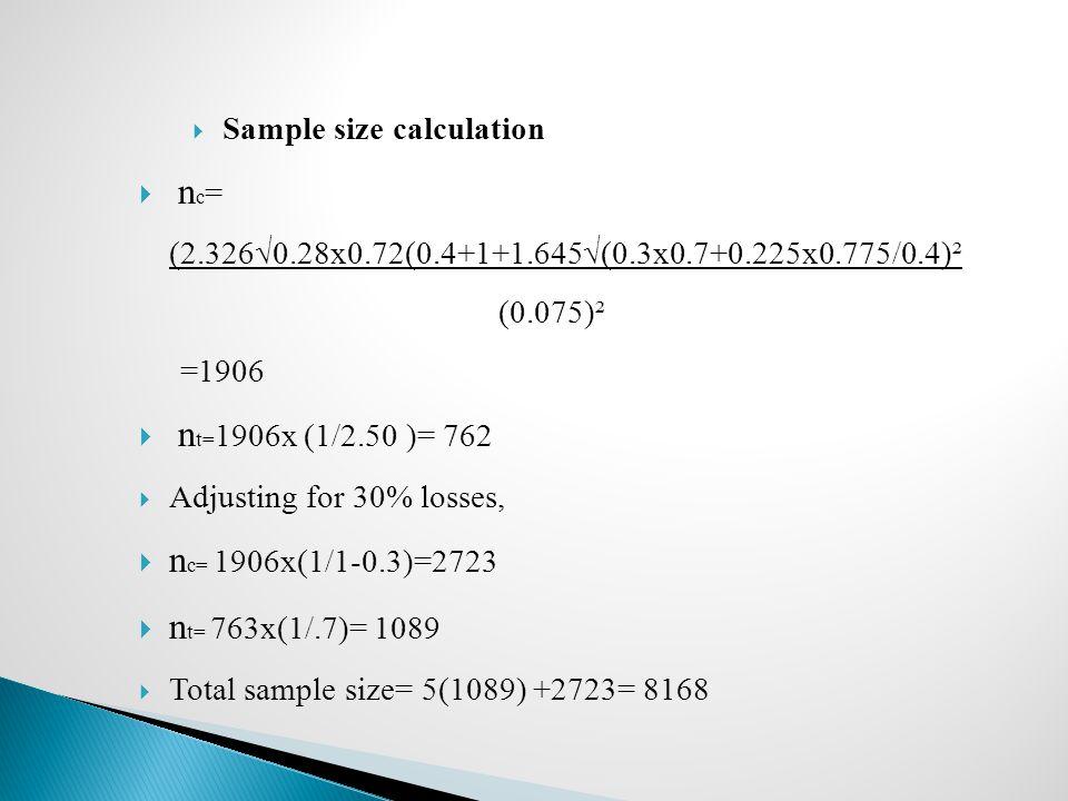  Sample size calculation  n c = (2.326√0.28x0.72(0.4+1+1.645√(0.3x0.7+0.225x0.775/0.4)² (0.075)² =1906  n t= 1906x (1/2.50 )= 762  Adjusting for 3
