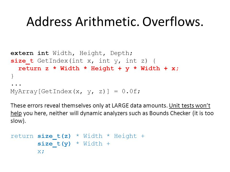 Address Arithmetic. Overflows.