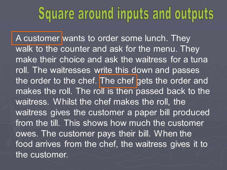 A customer wants to order some lunch. They walk to the counter and ask for the menu. They make their choice and ask the waitress for a tuna roll. The