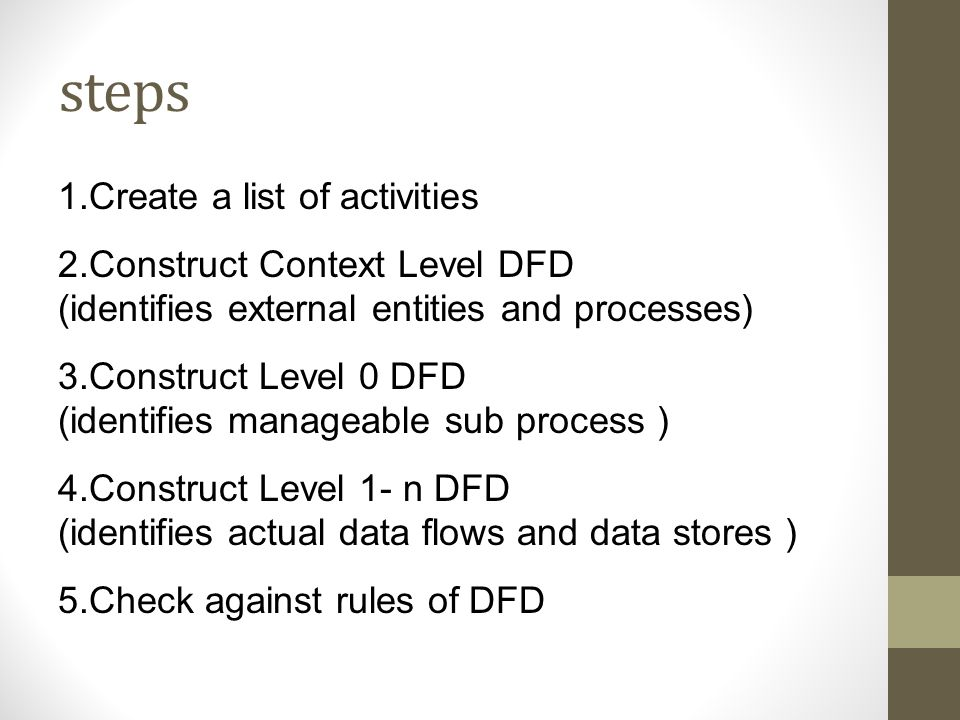 steps 1.Create a list of activities 2.Construct Context Level DFD (identifies external entities and processes) 3.Construct Level 0 DFD (identifies man