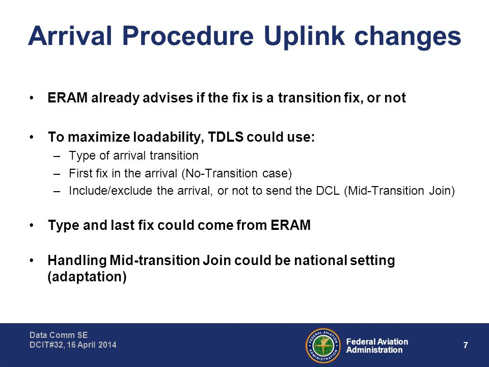 8 Federal Aviation Administration Data Comm SE DCIT#32, 16 April 2014 Arrival Procedure Uplink Alternatives A procedural option could simplify: –To make No-Transition Arrivals loadable, require the FP filing to use the first fix in the base/common leg as the ATF (eg PIECH.TUDOR2) –In this case, ERAM only needs to indicate this is a N o- T ransition case Another procedural option could further simplify: –Advise FP filers to file mid-transition joins only if their target aircraft can load them –In this case, TDLS doesn't need to know if the arrival is a mid- transition join – TDLS would include transition in proc arr, and as the last route element.