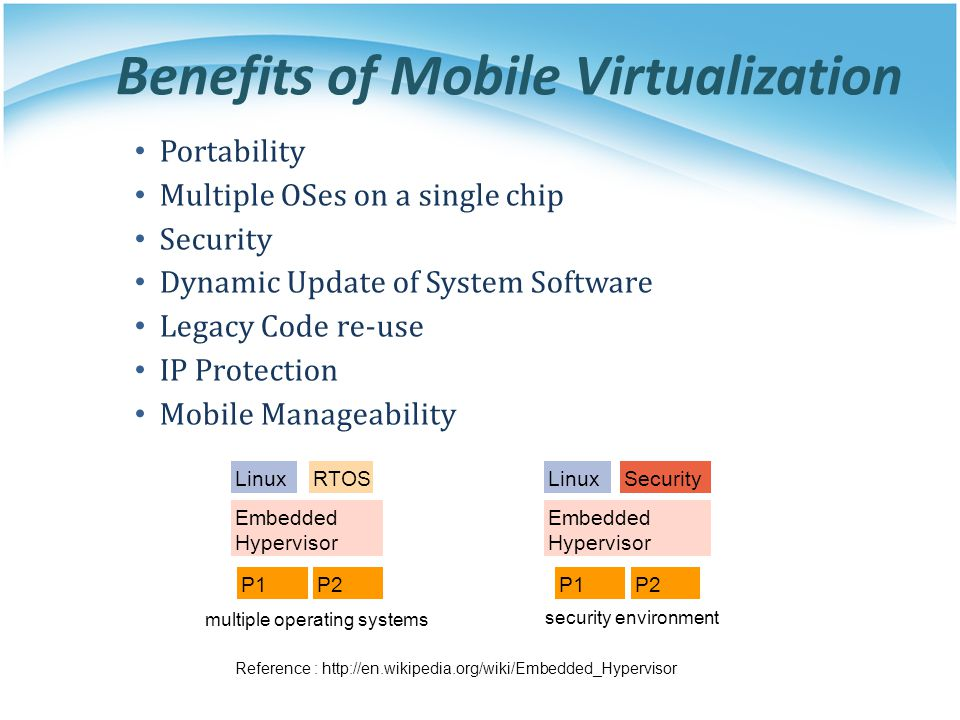 Benefits of Mobile Virtualization Portability Multiple OSes on a single chip Security Dynamic Update of System Software Legacy Code re-use IP Protecti