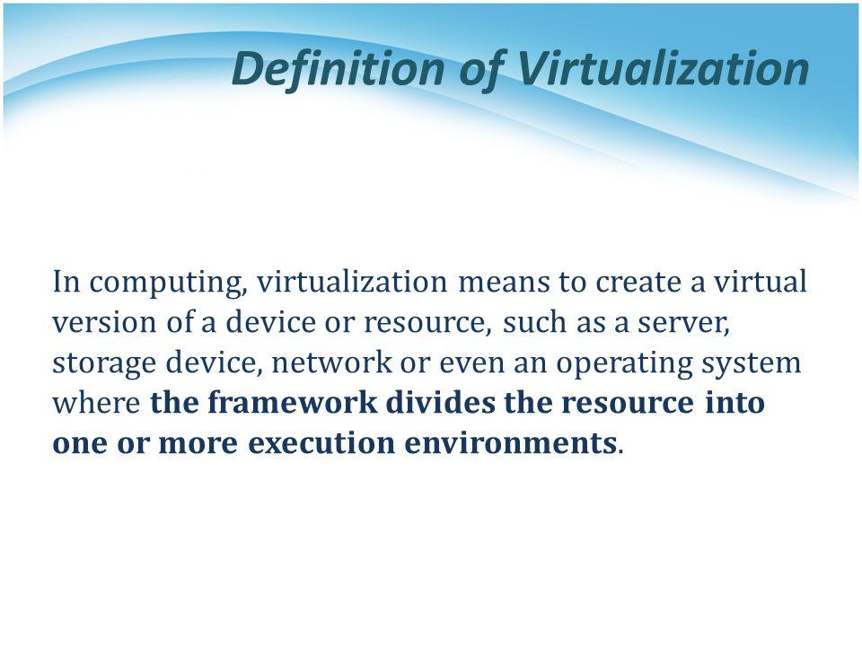 Virtual Machine (1/2) A virtual machine (VM) is a software implementation of a machine that executes programs like a physical machine.