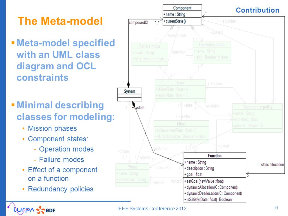 The Meta-model 11  Meta-model specified with an UML class diagram and OCL constraints  Minimal describing classes for modeling: Mission phases Component states: -Operation modes -Failure modes Effect of a component on a function Redundancy policies IEEE Systems Conference 2013 Contribution