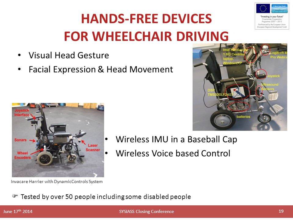 SYSIASS Closing Conference June 17 th 2014 HANDS-FREE DEVICES FOR WHEELCHAIR DRIVING Visual Head Gesture Facial Expression & Head Movement 19 Wireless IMU in a Baseball Cap Wireless Voice based Control Invacare Harrier with DynamicControls System  Tested by over 50 people including some disabled people