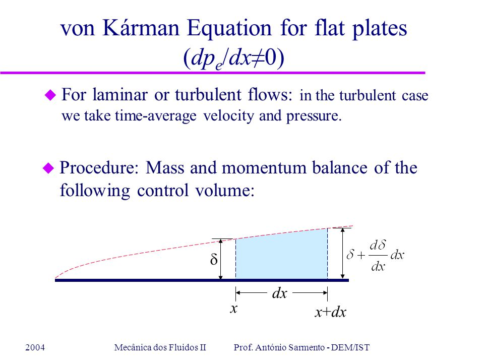 2004Mecânica dos Fluidos II Prof. António Sarmento - DEM/IST von Kárman Equation for flat plates (dp e /dx≠0) u For laminar or turbulent flows: in the
