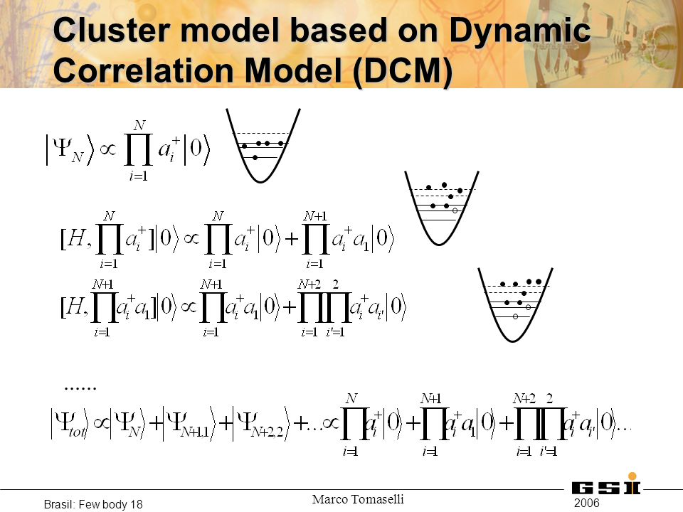 2006 Brasil: Few body 18 Marco Tomaselli Cluster model based on Dynamic Correlation Model (DCM)......