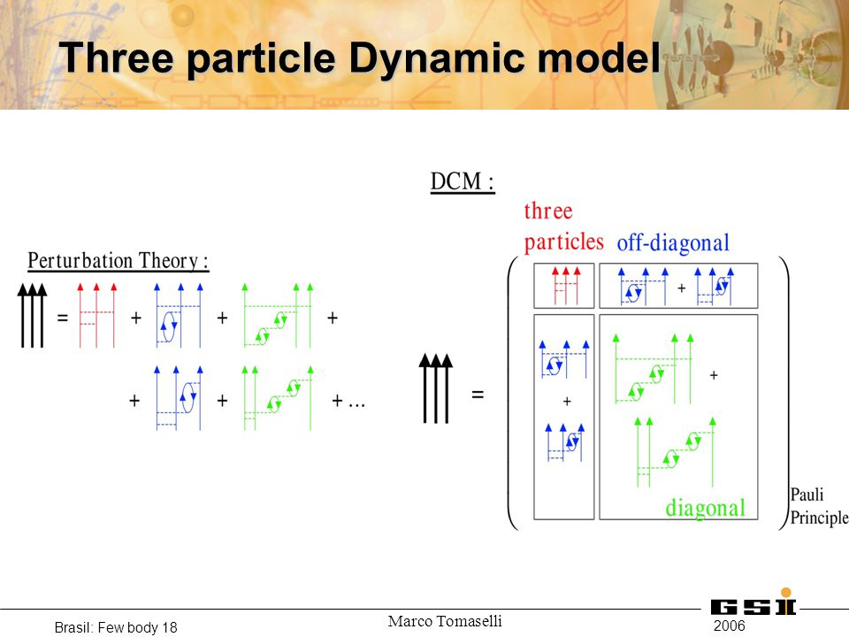 2006 Brasil: Few body 18 Marco Tomaselli Three particle Dynamic model