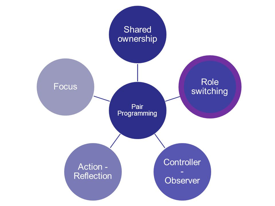 4 Pair Programming Shared ownership Role switching Controller - Observer Action - Reflection Focus