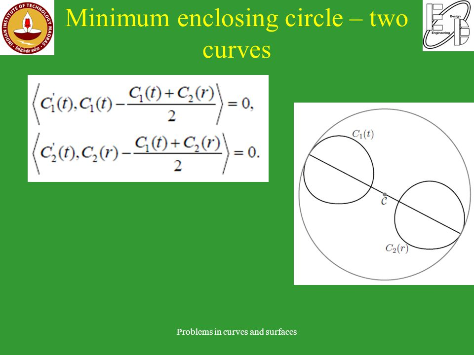 Minimum enclosing circle – two curves Problems in curves and surfaces