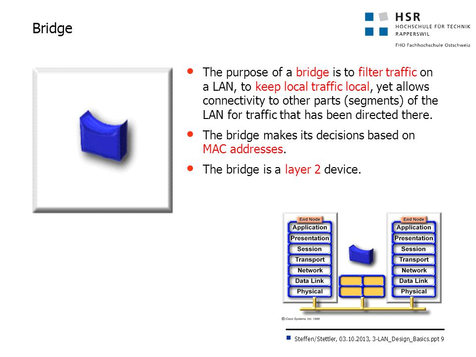 Steffen/Stettler, 03.10.2013, 3-LAN_Design_Basics.ppt 10 MAC Layer Bridge (Transparent Bridge)