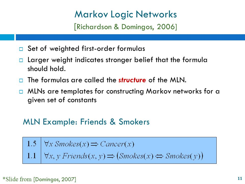 11 Markov Logic Networks [ Richardson & Domingos, 2006]  Set of weighted first-order formulas  Larger weight indicates stronger belief that the formula should hold.