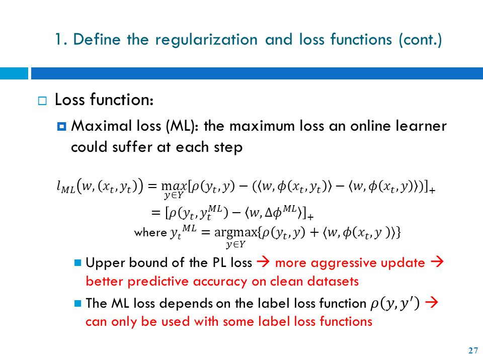 1. Define the regularization and loss functions (cont.) 27