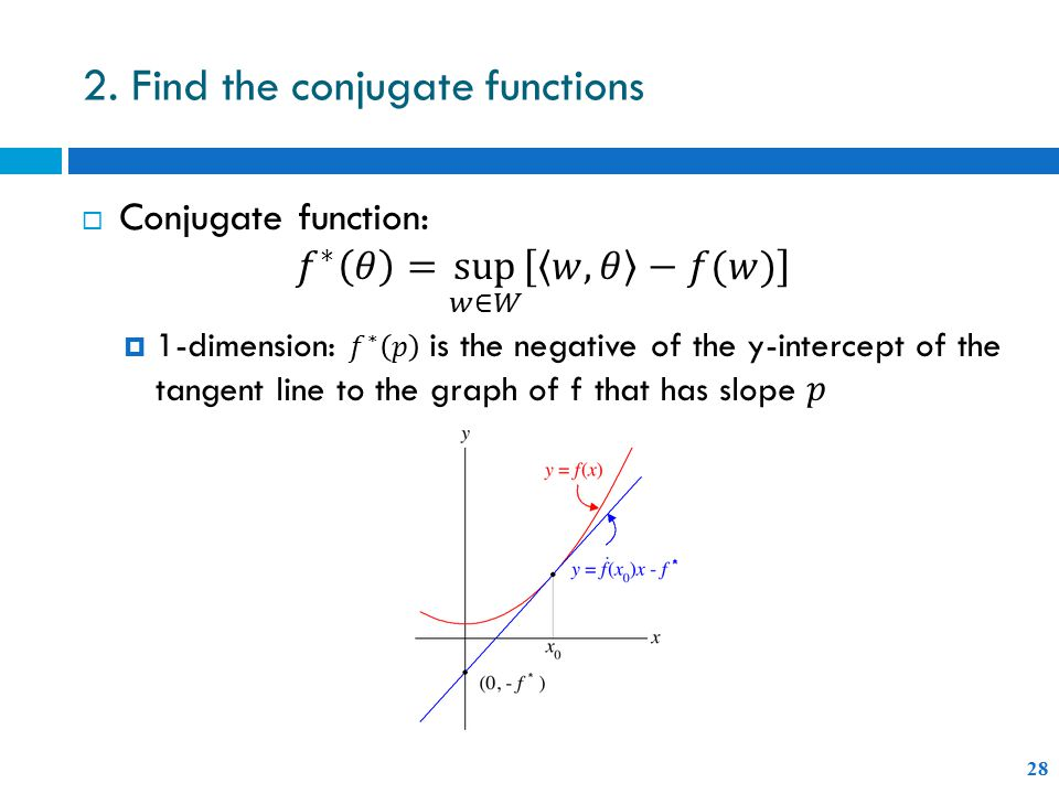 2. Find the conjugate functions 28