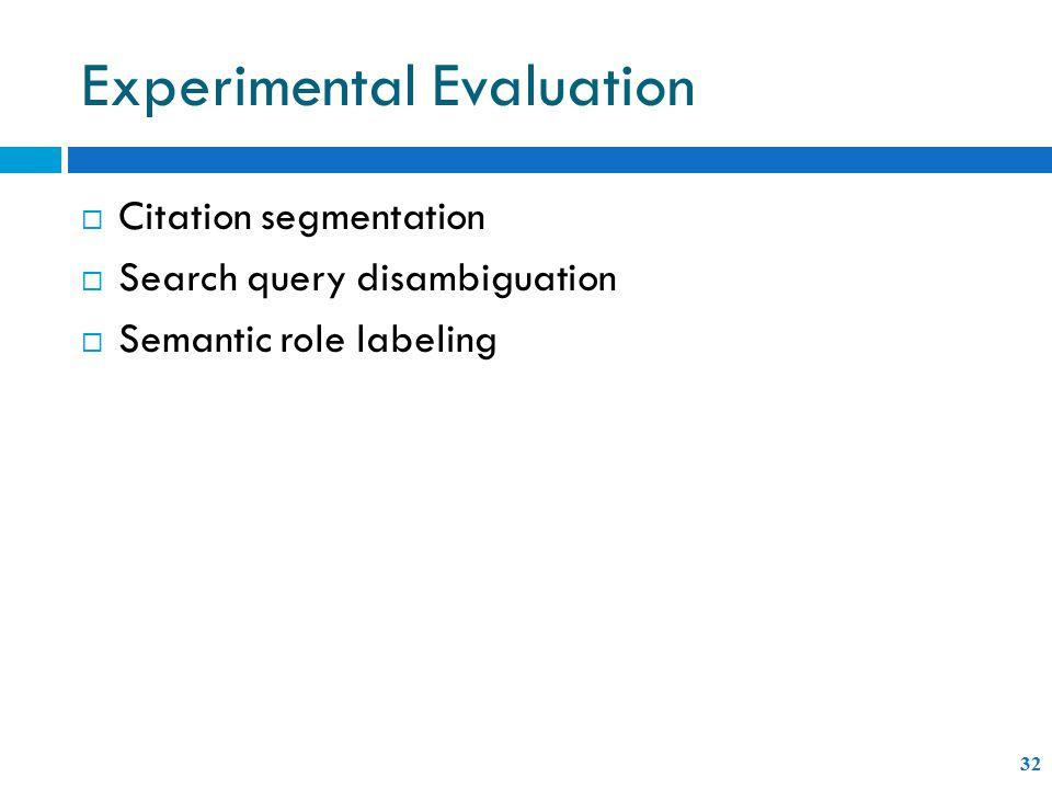 Experimental Evaluation 32  Citation segmentation  Search query disambiguation  Semantic role labeling