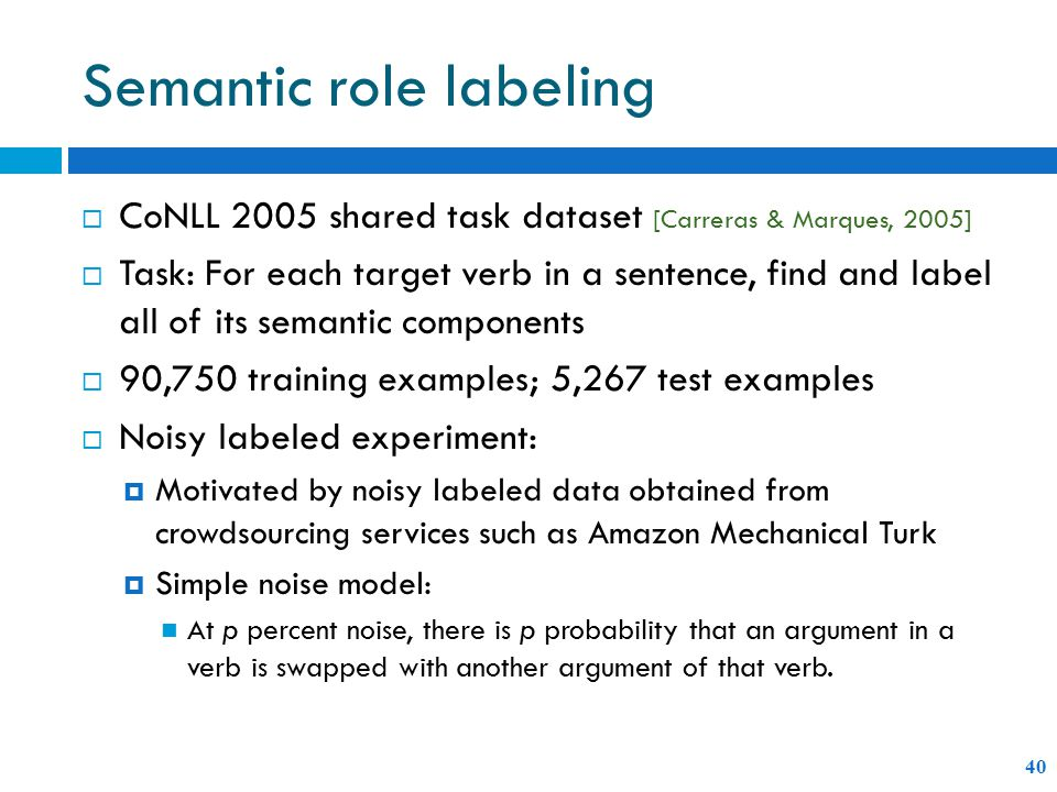Semantic role labeling 40  CoNLL 2005 shared task dataset [Carreras & Marques, 2005]  Task: For each target verb in a sentence, find and label all of its semantic components  90,750 training examples; 5,267 test examples  Noisy labeled experiment:  Motivated by noisy labeled data obtained from crowdsourcing services such as Amazon Mechanical Turk  Simple noise model: At p percent noise, there is p probability that an argument in a verb is swapped with another argument of that verb.