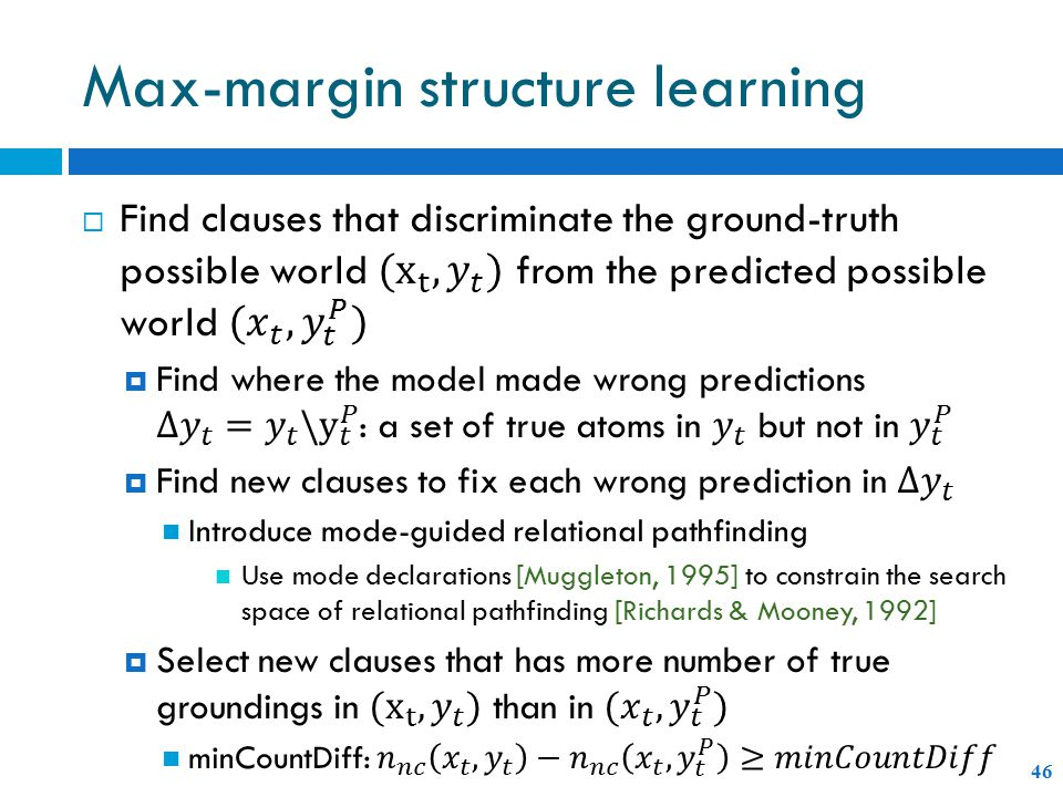 Max-margin structure learning 46
