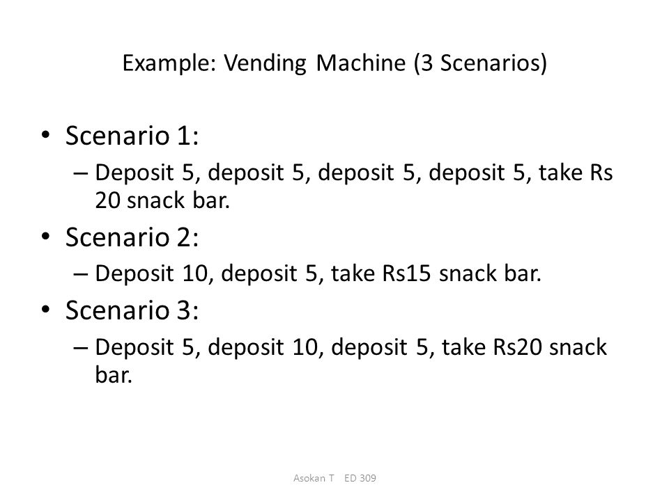 Asokan T ED 309 Example: Vending Machine (A Petri net) 5 Take Rs 15 bar Deposit 5 0 Deposit 10 Deposit 5 10 Deposit 10 Deposit 5c Deposit Deposit 5 15 Take Rs 20 bar