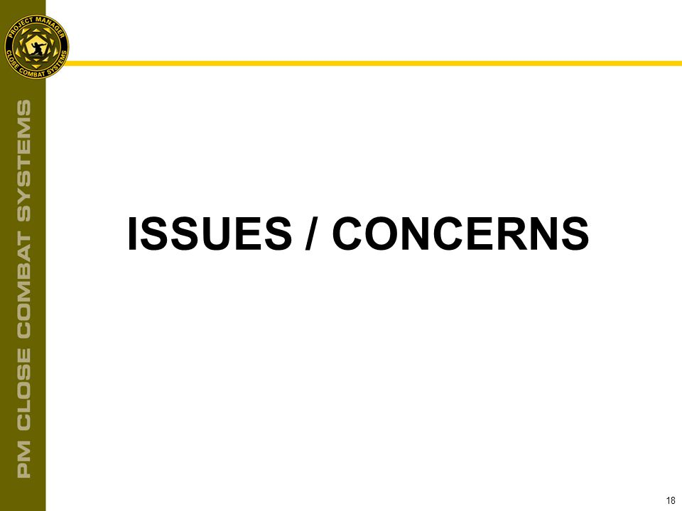 18 ISSUES / CONCERNS