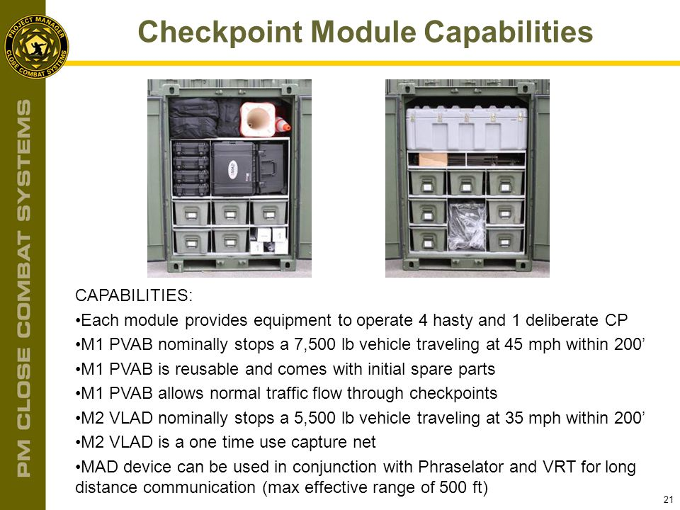 21 Checkpoint Module Capabilities CAPABILITIES: Each module provides equipment to operate 4 hasty and 1 deliberate CP M1 PVAB nominally stops a 7,500