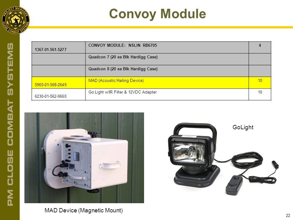 22 Convoy Module MAD Device (Magnetic Mount) GoLight 1367-01-561-5277 CONVOY MODULE: NSLIN RB67054 Quadcon 7 (20 ea Blk Hardigg Case) Quadcon 8 (20 ea