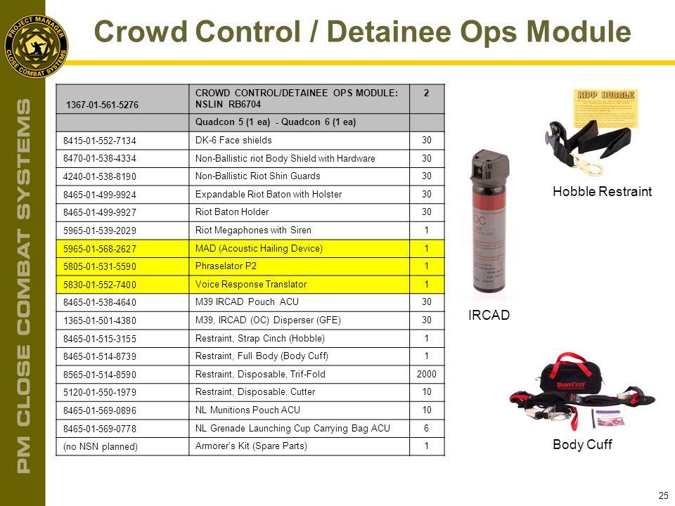 25 Crowd Control / Detainee Ops Module IRCAD Hobble Restraint Body Cuff 1367-01-561-5276 CROWD CONTROL/DETAINEE OPS MODULE: NSLIN RB6704 2 Quadcon 5 (
