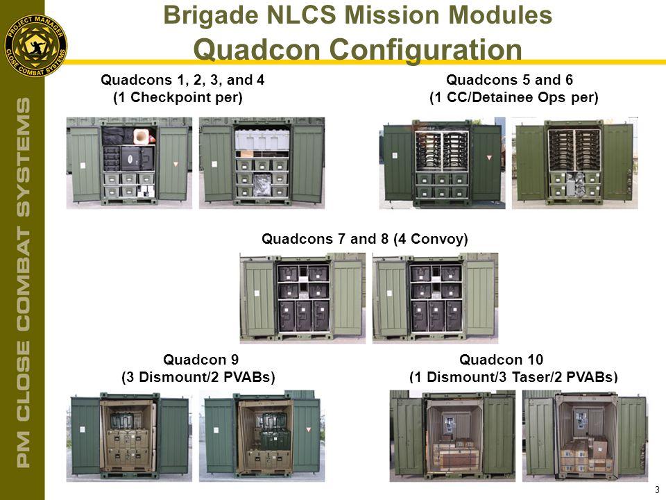 3 Brigade NLCS Mission Modules Quadcon Configuration Quadcons 1, 2, 3, and 4 (1 Checkpoint per) Quadcons 5 and 6 (1 CC/Detainee Ops per) Quadcons 7 an