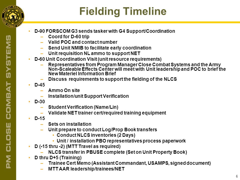 6 Fielding Timeline D-90 FORSCOM G3 sends tasker with G4 Support/Coordination –Coord for D-60 trip –Valid POC and contact number –Send Unit NMIB to fa