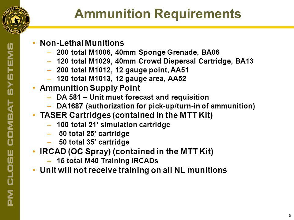 9 Ammunition Requirements Non-Lethal Munitions –200 total M1006, 40mm Sponge Grenade, BA06 –120 total M1029, 40mm Crowd Dispersal Cartridge, BA13 –200