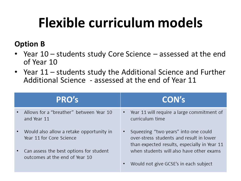 Flexible curriculum models Option B Year 10 – students study Core Science – assessed at the end of Year 10 Year 11 – students study the Additional Science and Further Additional Science - assessed at the end of Year 11 PRO'sCON's Allows for a breather between Year 10 and Year 11 Would also allow a retake opportunity in Year 11 for Core Science Can assess the best options for student outcomes at the end of Year 10 Year 11 will require a large commitment of curriculum time Squeezing two years into one could over-stress students and result in lower than expected results, especially in Year 11 when students will also have other exams Would not give GCSE's in each subject