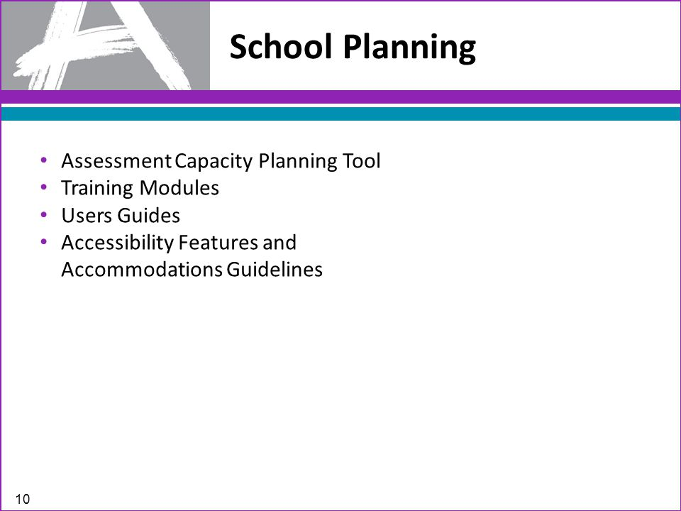 School Planning 10 Assessment Capacity Planning Tool Training Modules Users Guides Accessibility Features and Accommodations Guidelines