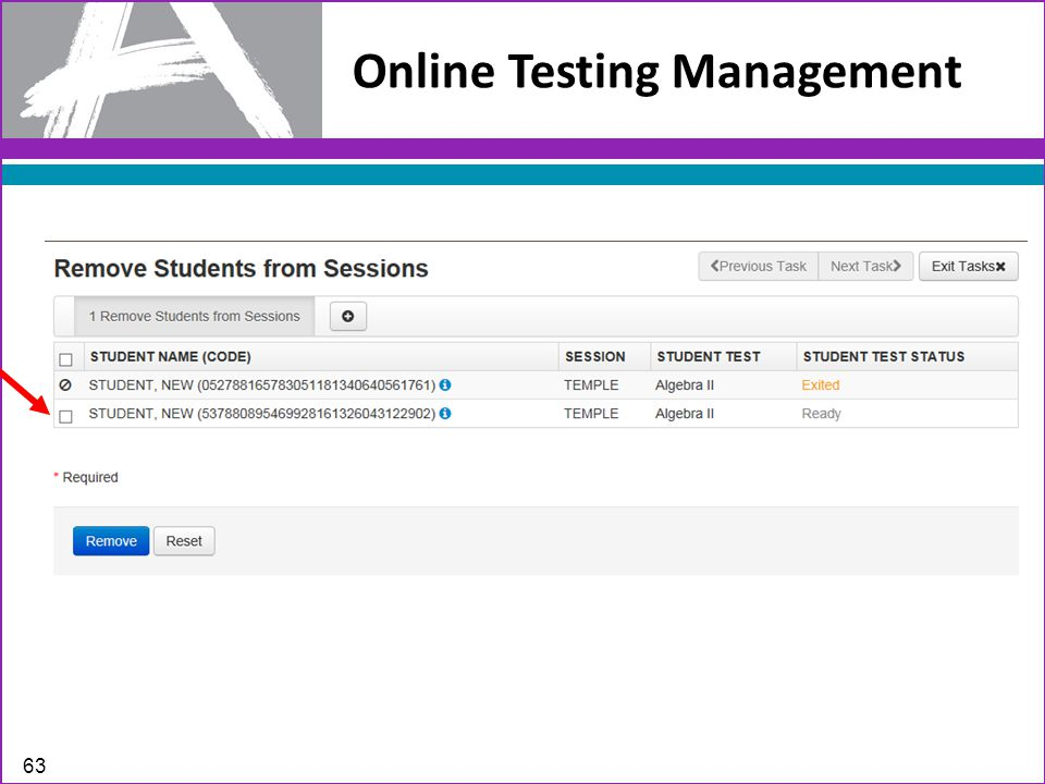 Online Testing Management 63