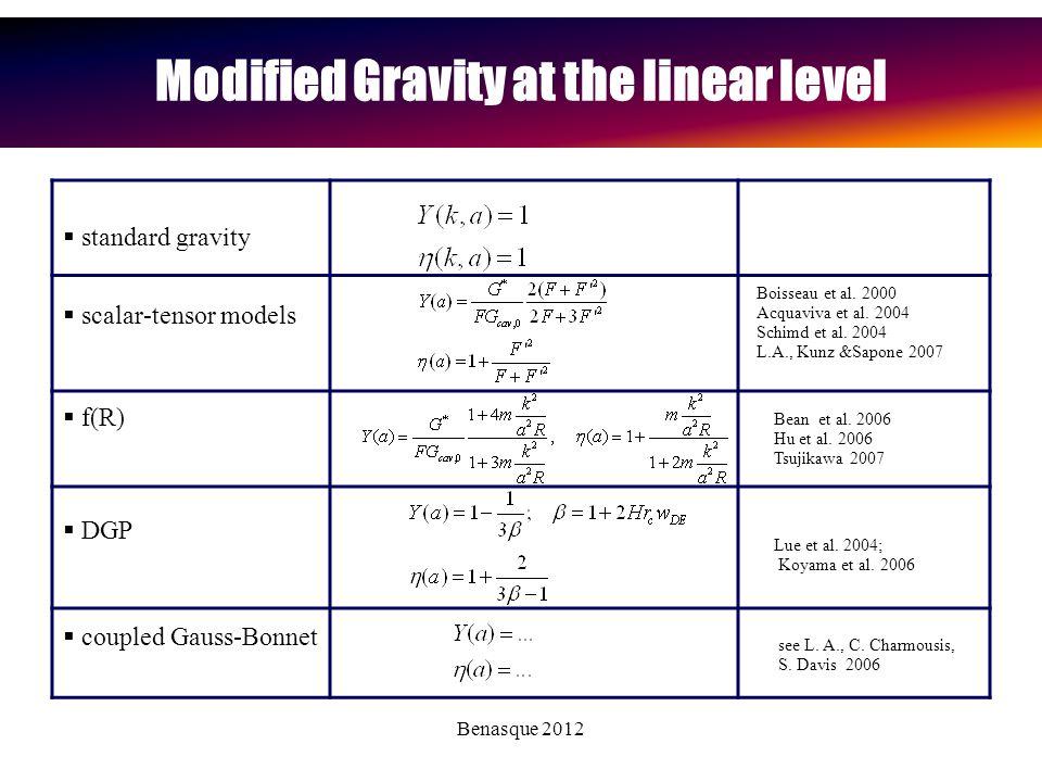 Benasque 2012 Modified Gravity at the linear level  scalar-tensor models  standard gravity  DGP  f(R) Lue et al.
