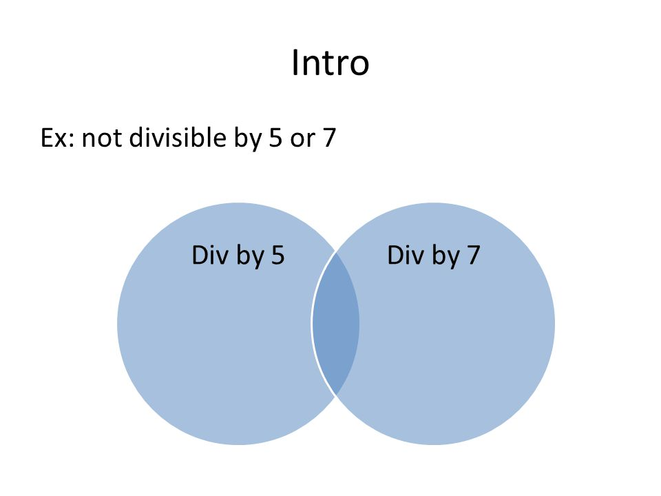 Intro Ex: not divisible by 5 or 7 Div by 5Div by 7