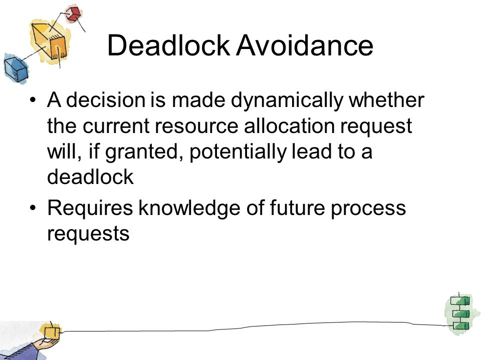 Deadlock Avoidance A decision is made dynamically whether the current resource allocation request will, if granted, potentially lead to a deadlock Requires knowledge of future process requests
