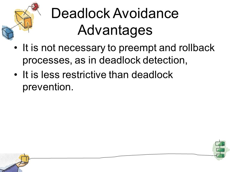 Deadlock Avoidance Advantages It is not necessary to preempt and rollback processes, as in deadlock detection, It is less restrictive than deadlock prevention.
