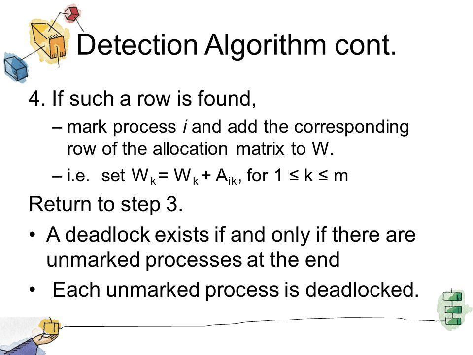 Detection Algorithm cont. 4. If such a row is found, –mark process i and add the corresponding row of the allocation matrix to W. –i.e. set W k = W k