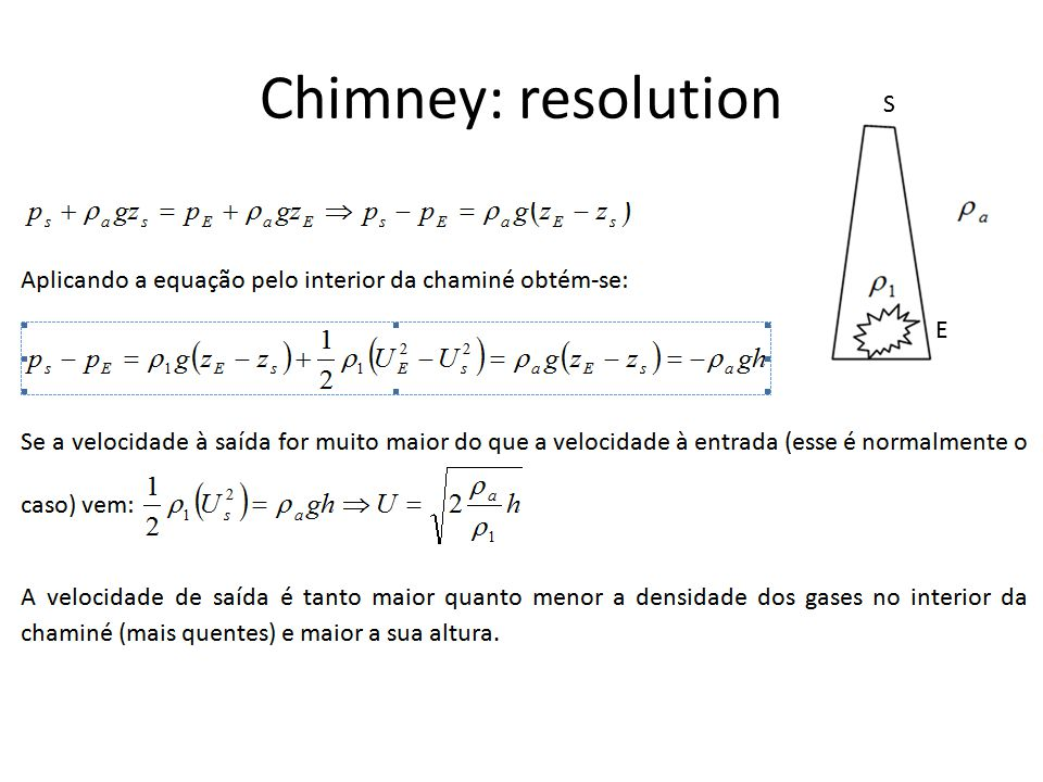 Chimney: resolution S E