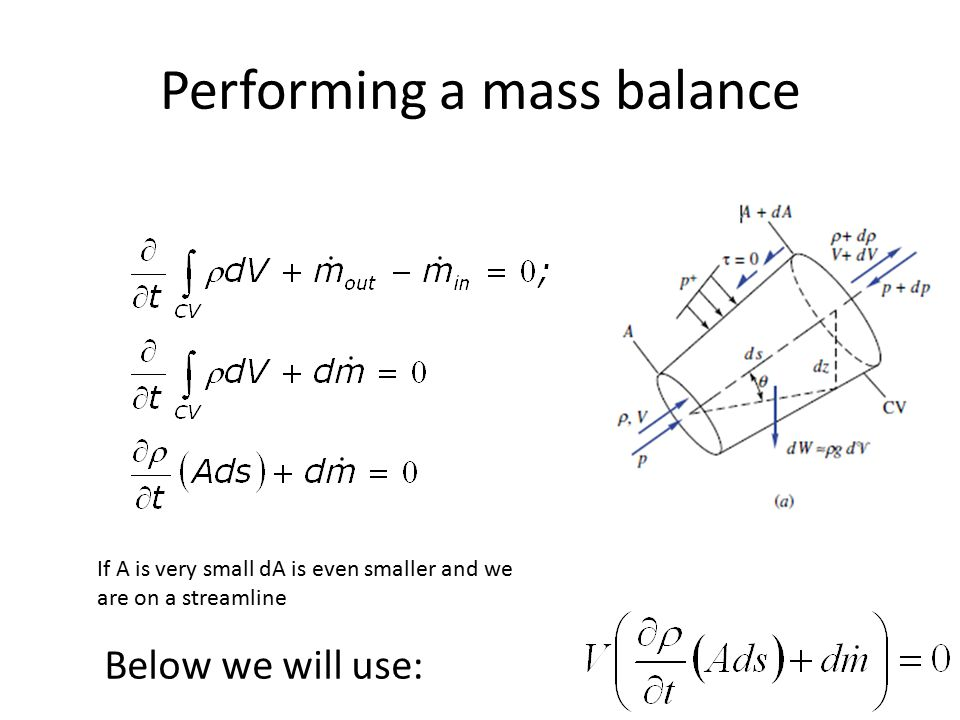 Performing a mass balance Below we will use: If A is very small dA is even smaller and we are on a streamline