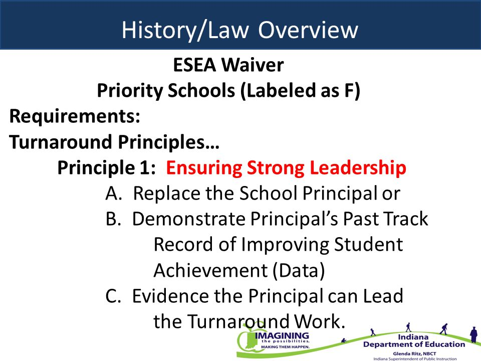 ESEA Waiver Priority Schools (Labeled as F) Requirements: Turnaround Principles… Principle 1: Ensuring Strong Leadership A. Replace the School Princip