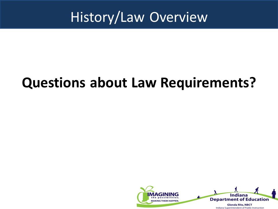 History/Law Overview Questions about Law Requirements?